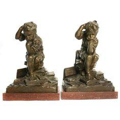 Pair of Bronze Bookends by Edgardo G.F. Simone   Douglas Rosin