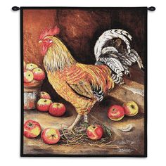26x34 English Cockerel Rooster Tapestry Wall Hanging