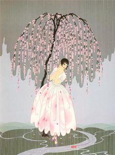 'Blossom Umbrella' by Russian artist Erté (1892-1990). Serigraph, 24 x 18.13 in. via Wikipaintings