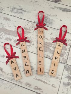 Personalised Scrabble Christmas Decoration by AlfieandArchieCrafts Christmas Crafts To Make, Christmas Ornament Crafts, Homemade Christmas Gifts, Kids Christmas, Holiday Crafts, Scrabble Letter Crafts, Scrabble Tiles, Letters, Scrabble Christmas Decorations