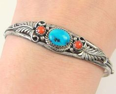 RUNNING-BEAR-Vintage-Navajo-Sterling-Silver-Turquoise-Coral-Cuff-Bracelet-J-BX