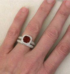 Cushion Cut Garnet And Diamond Halo Engagement Ring Wedding Band With Milgrain Edging Studded Filigree Basket