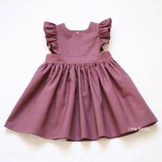 Linen Pinafore Dress Plum Classic Vintage Boho Baby Toddler