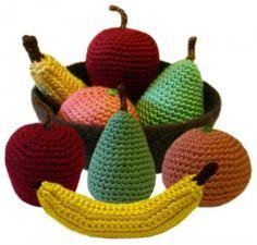 crochet play fruit: apple, banana, orange, pear