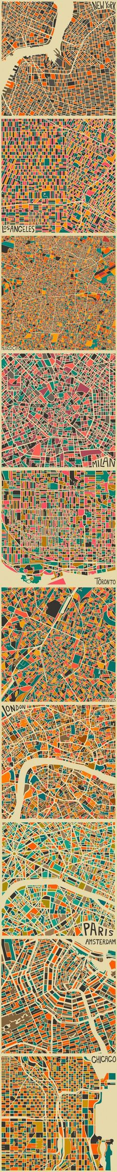 Expressive maps famous cities of the world in the form of mosaics