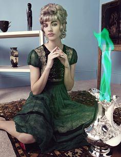 Maggie Jablonski wear green skirt in Numero Tokyo Magazine November 2015
