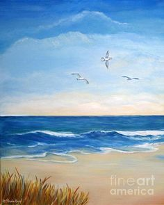 Flock Of Three - Three Birds On The Beach Metal Print by Shelia Kempf. All metal prints are professionally printed, packaged, and shipped within 3 - 4 business days and delivered ready-to-hang on your wall. Choose from multiple sizes and mounting options. Seascape Paintings, Beach Canvas Paintings, Beach Scenes, Beach Art, Ocean Beach, Pictures To Paint, Stretched Canvas Prints, Painting Inspiration, Fine Art America