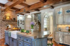 blue kitchen cabinets november 2013 magazine | Island Blue - traditional - kitchen - by Cabinet Studio, Inc.