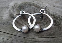 Pearl Hoop Dangle Earrings  sterling silver white by LisasLovlies, $32.72