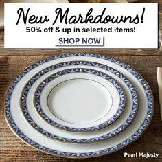 Newly-retired patterns are now 50% off! Other sale items have been reduced even further! Click to shop: http://noritakechina.com/sale/sale-items.html