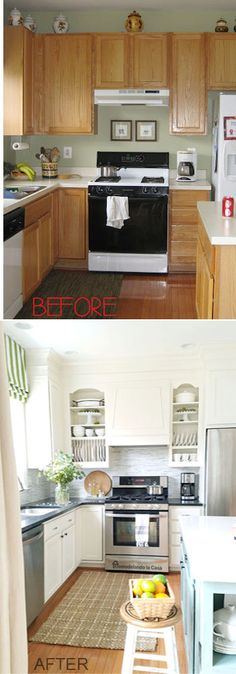 DIY - Kitchen makeover - Closing the space above the kitchen cabinets + paint.