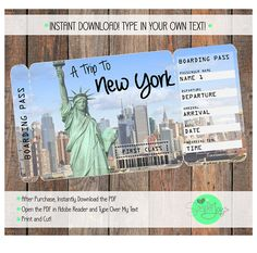 Printable Ticket to New York Boarding Pass Customizable