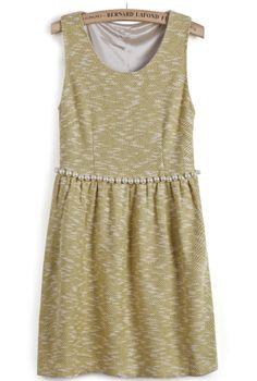 Vestido princesa plisado perlas sin manga-Amarillo EUR€30.16
