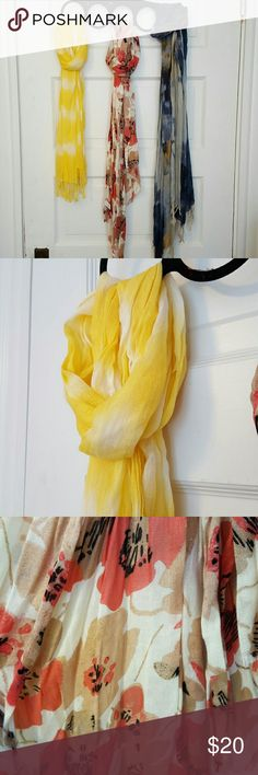 3 scarf bundle These three scarves are all lightweight and perfect for spring! The yellow scarf has no tags. The Loft scarf has a pink and tan flower motif. The abstract blue scarf is from Coldwater Creek. Happy to mix and match of you don't want them all. LOFT Accessories Scarves & Wraps