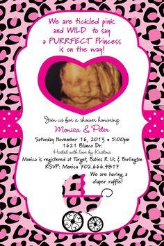 pink sweet safari cheetah baby shower invitation