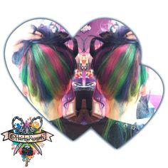 Rainbow hair dye. Looks cute pulled up too! ❤ #manicpanic @manicpanicnyc #joico #pravana #pravananeons #rainbow #rainbowhair #unnaturalhair #coloredhair #unicorn #magic #btconeshot_rainbow #behindthechair #btcpics #idohairt #salon #spa #westminster #maryland #thehairafter #scissorsalute #whocuts #unicorntribe  #olaplex  #defabulous