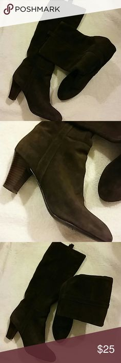 Nine West Boots Size 7.5 M Nine West Musyknowr Brown Suede Boots 19in. Tall..Heels 3in. Nine West Shoes Ankle Boots & Booties
