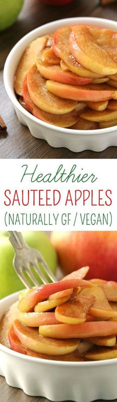 These healthier sauteed apples are lightly naturally sweetened with maple syrup and are quick and easy to prepare! They also happen to be gluten-free, vegan, paleo and dairy-free.