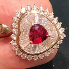 @taiwan_kunlun_jewelry. stunning heart shaped ruby with multi cut diamonds pendant