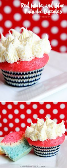 Red White and Blue Patriotic Cupcake Recipe