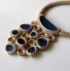 this is so beautiful a crocheted one of a kind necklace made with cobalt blue sea glass. Great color choice!