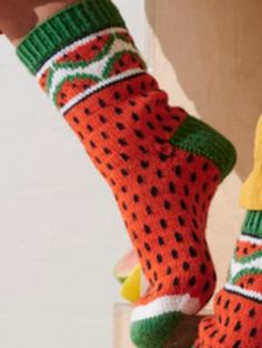 Nordic Yarns and Design since 1928 Knitting Stitches, Knitting Socks, Crochet Woman, Knit Crochet, Wool Socks, Designer Socks, Little My, Knit Fashion, Watermelon