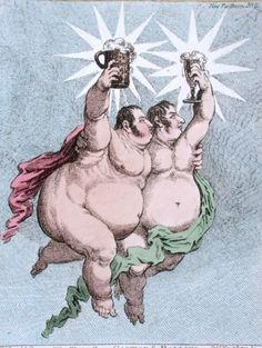 """""""The Twin Stars: Castor and Pollux"""", satirical illustration by English cartoonist James Gillray (1757-1815.) Gillray lampooned George Barclay (c.1759-1819) and Charles Sturt (1763-1812)."""