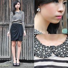 Nice Collar Styles, Peep Toe Heels, Ruffle Blouse, Long Sleeve, Skirts, Nice, Black, Tops, Women