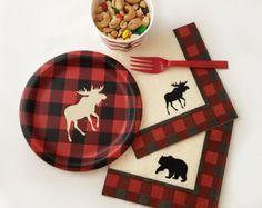 16-Set Buffalo Plaid - Lumberjack Baby Shower - Luncheon Napkins - Lumberjack Party - Lumberjack Birthday - Party Plates - First Birthday