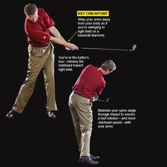 RELEASE Release your arms past your body to improve your impact Your release is an extension of your downswing and impact positions. But don't take it for granted--keep on rotating the club all the way to the top. Tips And Tricks, Best Golf Clubs, Golf Instruction, Golf Tips For Beginners, Golf Exercises, Perfect Golf, Golf Training, Golf Irons, Golf Lessons