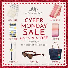 Getaway this holiday with up to 70% OFF these fun-in-the-sun essentials + more – celebrate Cyber Monday on my #chloeandisabel boutique today!
