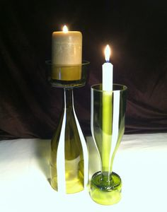 Upcycled wine bottle. Pair of vases or candle by RogueFarms