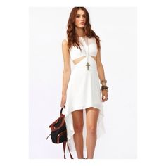 Nasty Gal White Cutout Dress NWOT new hi lo nasty gal dress with white mesh panels. Very cute to go out or for a special occasion. Nasty Gal Dresses