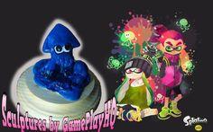 Nintendo Splatoon Figurine Collectable Dark Blue Squid Form Hand Made  Sculpture