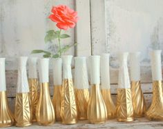 Gold vases gold wedding decor Set of 6 gold by thepaisleymoon