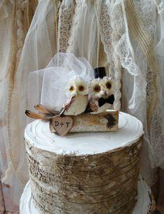 Owls wedding cake topper-fall wedding-Barn by MorganTheCreator