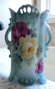 Outstanding Porcelain ROSES Vase HP Rose Signed