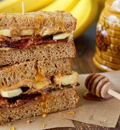 Grilled Elvis Breakfast Sandwich-This creamy, salty and sweet Grilled Elvis Breakfast Sandwich recipe will leave you all shook up. Peanut butter, bacon, bananas and honey make this a recipe fit for a King. Turn any breakfast, brunch, lunch or dinner meal into an event with this epic sandwich.