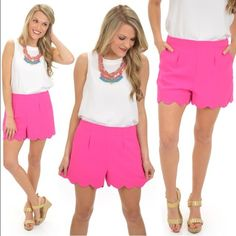 NWOT Hot Pink Scalloped Shorts!! Size: Medium! NWOT Hot Pink Scalloped Shorts!! Size: Medium! Never been worn!! In PERFECT condition!! These shorts are PRECIOUS!! The Blue Door Boutique Shorts