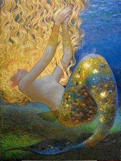 Mermaid by Victor Nizovtsev I mistook this for a Gustav Klimt! Gustav Klimt, Art And Illustration, Mermaid Illustration, Victor Nizovtsev, Mermaids And Mermen, Merfolk, Mermaid Art, Mermaid Paintings, Mermaid Images