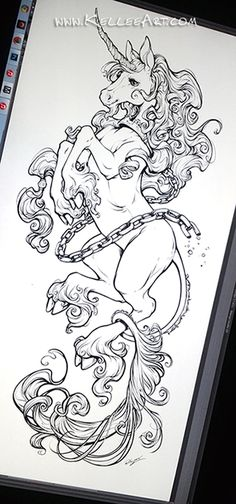 Tatto Ideas & Trends 2017 - DISCOVER Unicorn tattoo design by KelleeArt. on Discovred by : camille vidal The Last Unicorn Unicorn Drawing, Unicorn Art, Unicorn Outline, Unicorn Sketch, Unicorn Head, Tattoo Sleeve Designs, Sleeve Tattoos, Small Tattoos, Tattoos For Guys
