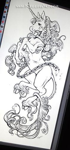 Unicorn tattoo design by KelleeArt.deviantart.com on @DeviantArt