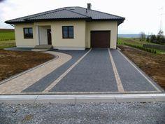 Stamped Concrete Driveway, Concrete Driveways, Driveway Fence, Driveway Landscaping, Landscape Design, Garden Design, Paver Designs, Curb Appeal, Building A House