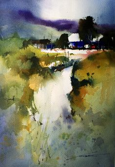 """John Lovett using a 1/2"""" brush only (love the 1/2"""" brush technique... My fabulous teacher and artist friend, Win Jones, had us do this to loosen us up and to learn the potential of using all the surfaces of the brush.)"""