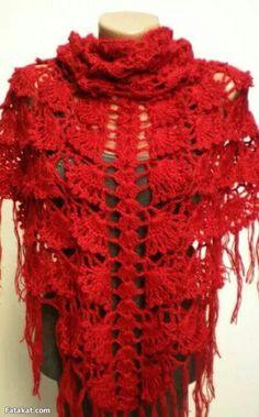 Steps chal crochet خطوات عمل شال كروشية