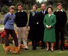 Prince Edward, Prince Charles, Princess Anne, Prince Philip, Queen Elizabeth and Prince Andrew 1979