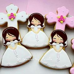 First Communion Cookies Fancy Cookies, Sweet Cookies, Cute Cookies, Easter Cookies, Cupcake Cookies, Cupcakes, Christening Cookies, First Holy Communion Cake, First Communion Decorations