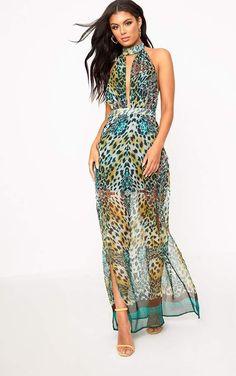 Green Leopard Print Maxi Dress