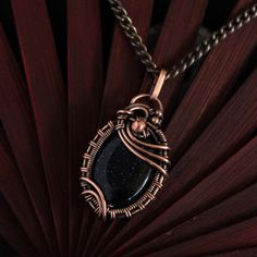 Wire wrapped pendant - Blue sunstone pendant - Copper pendant - Copper jewelry - Wife jewelry - Insp