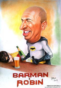#Caricatura colori #batman e #robin per Manuele barman del ristorante Gea di Villa d'Aiano #Bologna